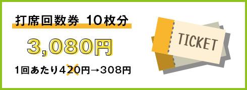 打席回数券10枚分3,080円